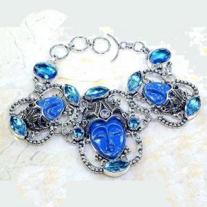 Lpc 297a bracelet 46gr lapis lazuli bouddha tibet chine afghan bijou argent 925 achat vente