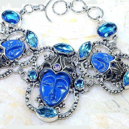 Lpc 297b bracelet 46gr lapis lazuli bouddha tibet chine afghan bijou argent 925 achat vente