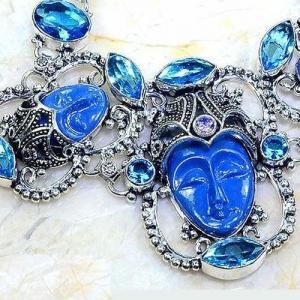 Lpc 297c bracelet 46gr lapis lazuli bouddha tibet chine afghan bijou argent 925 achat vente