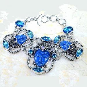 Lpc 297d bracelet 46gr lapis lazuli bouddha tibet chine afghan bijou argent 925 achat vente