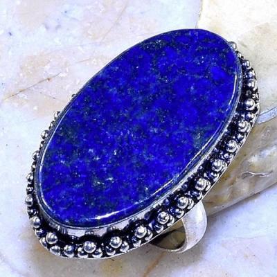 Lpc 298a bague chevaliere t57gr lapis lazuli 20x32mm tibet afghan bijou argent 925 achat vente