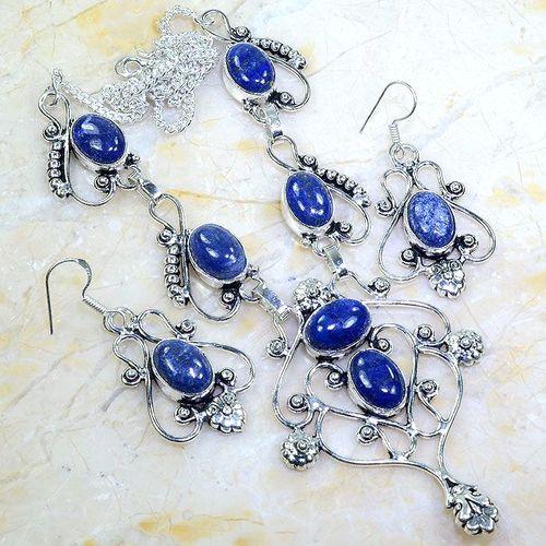Lpc 299a collier boucles oreilles 45gr lapis lazuli tibet chine afghan bijou argent 925 achat vente 1