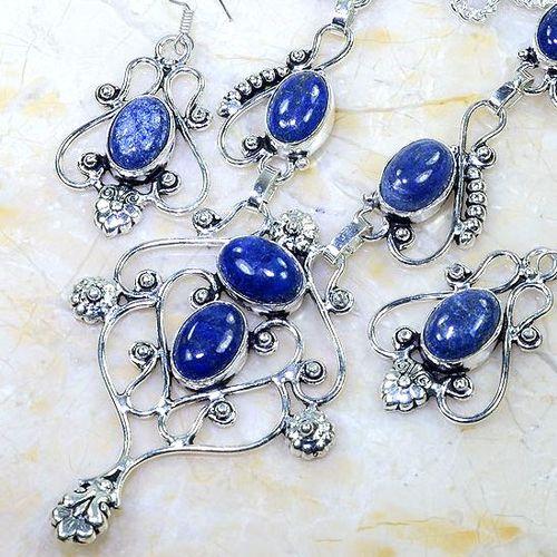 Lpc 299b collier boucles oreilles 45gr lapis lazuli tibet chine afghan bijou argent 925 achat vente 1