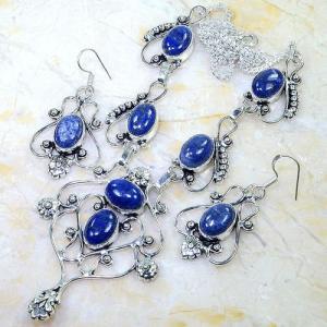 Lpc 299d collier boucles oreilles 45gr lapis lazuli tibet chine afghan bijou argent 925 achat vente 1