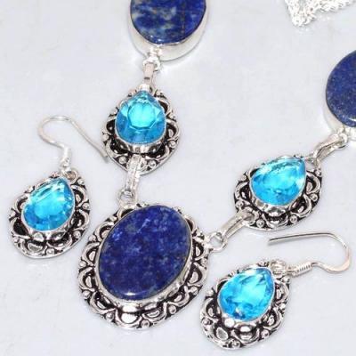 Lpc 305b collier boucles oreilles lapis lazuli tibet chine afghan bijou argent 925 achat vente