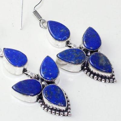 Lpc 308c boucles oreilles lapis lazuli tibet chine afghan bijou argent 925 achat vente