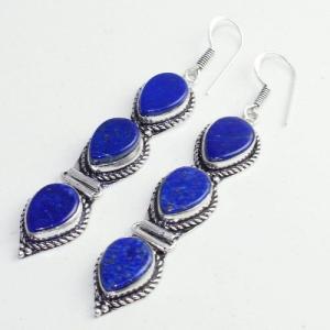 Lpc 309b boucles oreilles lapis lazuli tibet chine afghan bijou argent 925 achat vente