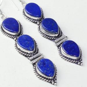 Lpc 309c boucles oreilles lapis lazuli tibet chine afghan bijou argent 925 achat vente