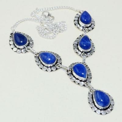 Lpc 310a collier parure sautoir lapis lazuli tibet chine afghan bijou argent 925 achat vente