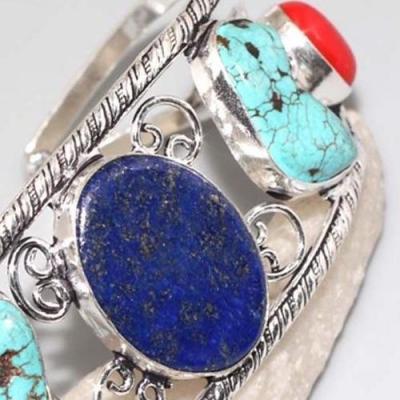 Lpc 311c bracelet 35gr lapis lazuli corail turquoise tibet afghan bijou argent 925 achat vente