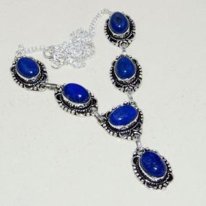 Lpc 317a collier parure sautoir lapis lazuli tibet chine afghan bijou argent 925 achat vente