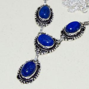 Lpc 317b collier parure sautoir lapis lazuli tibet chine afghan bijou argent 925 achat vente
