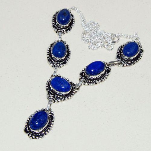 Lpc 317d collier parure sautoir lapis lazuli tibet chine afghan bijou argent 925 achat vente