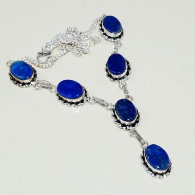 Lpc 318a collier parure sautoir lapis lazuli tibet chine afghan bijou argent 925 achat vente