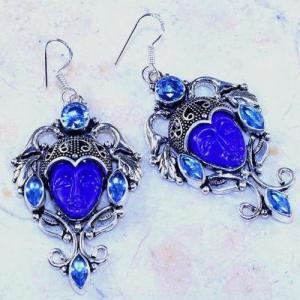 Lpc 324a boucles oreilles bouddha lapis lazuli tibet chine afghan bijou argent 925 achat vente