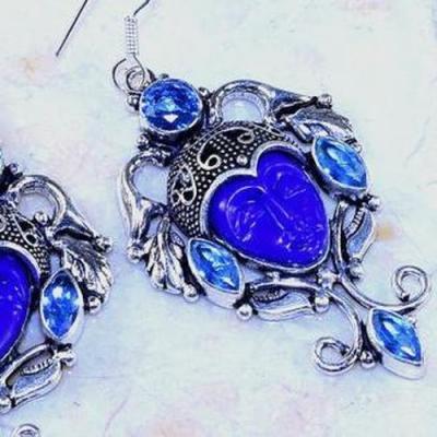 Lpc 324b boucles oreilles bouddha lapis lazuli tibet chine afghan bijou argent 925 achat vente