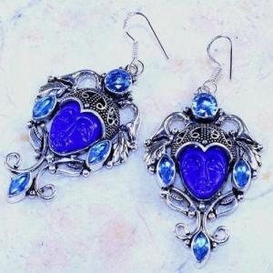 Lpc 324c boucles oreilles bouddha lapis lazuli tibet chine afghan bijou argent 925 achat vente
