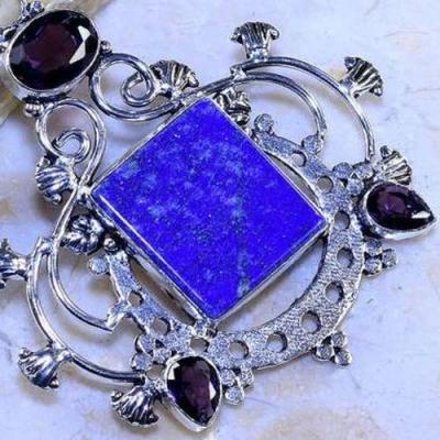 Lpc 327b pendentif pendant 25x25mm lapis lazuli amethyste tibet afghan bijou argent 925 achat vente