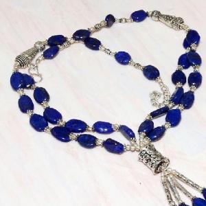 Lpc 347c collier sautoir parure 65gr lapis lazuli croissant ethnique afghan argent achat vente