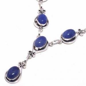 Lpc 376b collier sautoir parure 27gr lapis lazuli 10x15mm ethnique afghan argent achat vente 1
