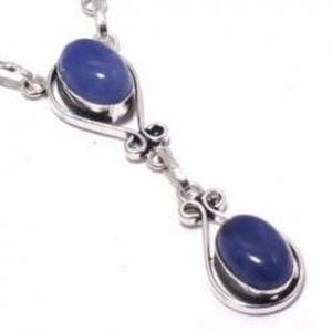 Lpc 376c collier sautoir parure 27gr lapis lazuli 10x15mm ethnique afghan argent achat vente 1
