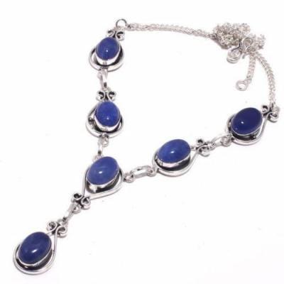 Lpc 376d collier sautoir parure 27gr lapis lazuli 10x15mm ethnique afghan argent achat vente 1