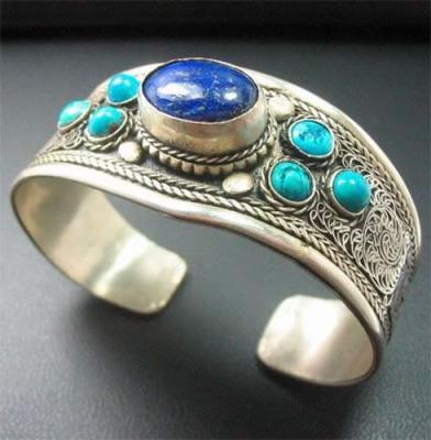 Lpc 379a bracelet 40gr lapis lazuli turquoise 18x28mm afghan bijou argent 925 achat vente