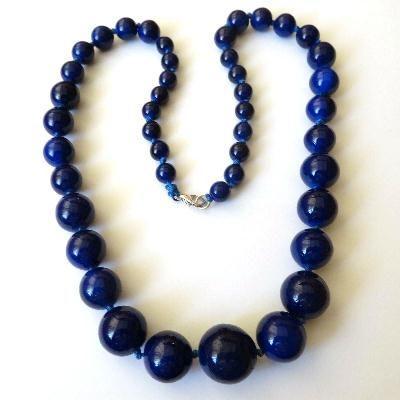 Lpc 434a collier parure sautoir pendant 16gr lapis lazuli 8 14mm bijoux ethnique achat vente