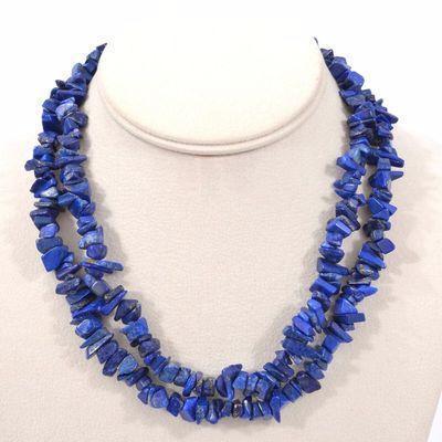 Lpc 478a collier 90gr 90cm lapis lazuli nuggets 10x5mm bijoux ethniques