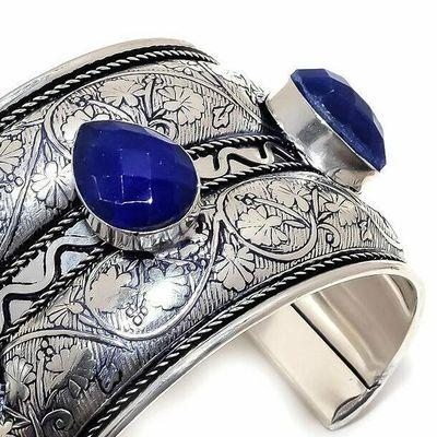 Lpc 481c bracelet torque 60gr lapis lazuli 15x20mm bijoux ethniques argent achat vente