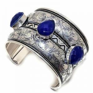 Lpc 481d bracelet torque 60gr lapis lazuli 15x20mm bijoux ethniques argent achat vente