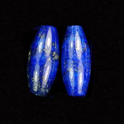 Lpp 003a lot 2xperles lapis lazuli 10x20mm 7gr olivettes polie loisirs creatifs creation boucles oreilles