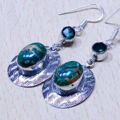 Mal 058c boucles pendants oreilles malachite achat vente bijou argent 925
