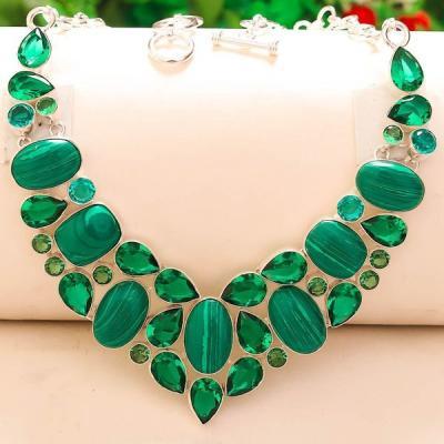 Mal 102a collier parure malachite peridot quartz vert achat vente bijou argent 925