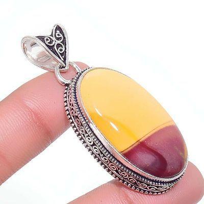Mk 0010a pendentif pendant mokaite 15gr 18x35mm achat vente bijoux ethnique argent 925