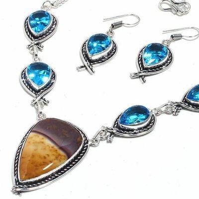 Mk 0040b collier boucles oreilles mookaite topaze bleue 34gr 15x30mm 925