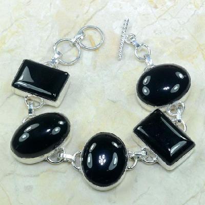 ON-0281 - Joli BRACELET en ONYX Noir et monture argent 925 - 210 carats - 42 gr