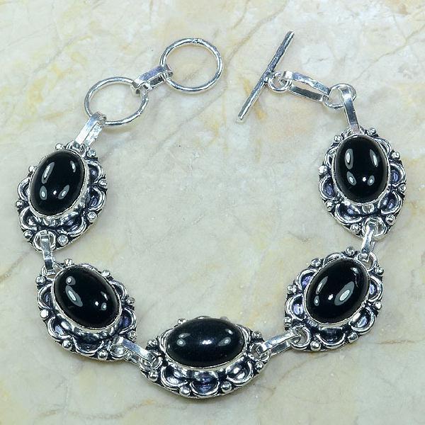 ON-0282 - Joli BRACELET en ONYX Noir et monture argent 925 - 119 carats - 23,8 gr