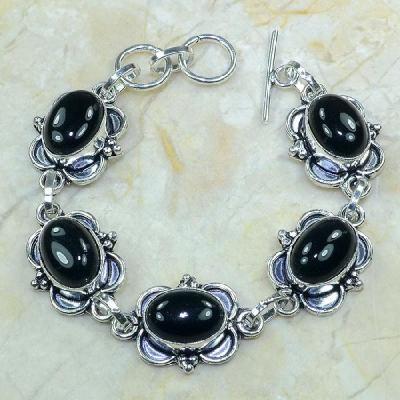 ON-0283 - Joli BRACELET en ONYX Noir et monture argent 925 - 108 carats - 21,6 gr