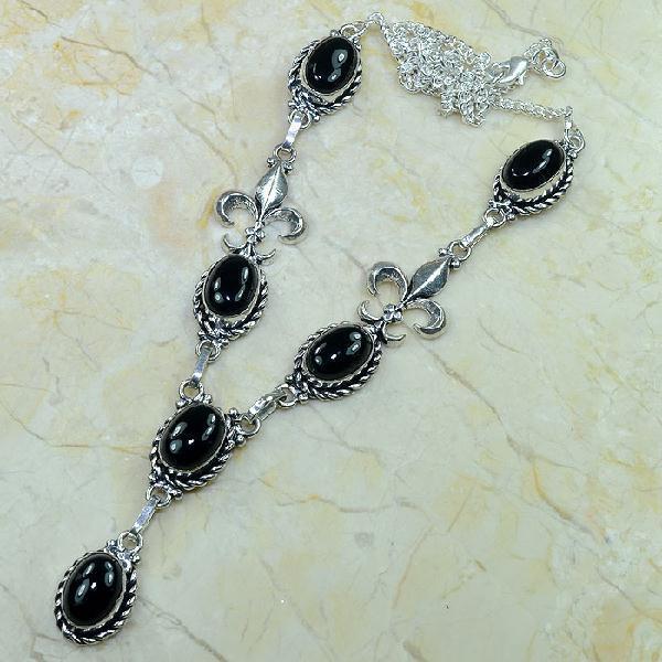 ON-0285 - Joli SAUTOIR, COLLIER ROYAL Fleur de Lys ONYX Noir et monture argent 925 - 170 carats - 34 gr