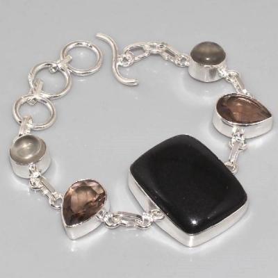 ON-0288 - Joli BRACELET en ONYX et AMETHYSTE monture argent 925 - 110 carats - 22 gr