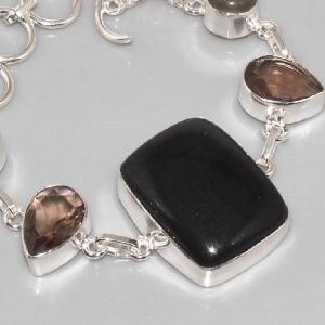 On 0288b bracelet onyx noir quartz fume achat vente bijou argent 925