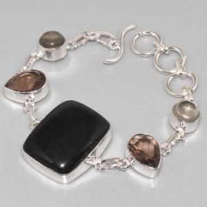 On 0288c bracelet onyx noir quartz fume achat vente bijou argent 925