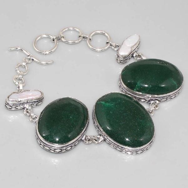 ON-0290 - Joli BRACELET en ONYX Vert et NACRE - argent 925 - 195 carats - 39 gr