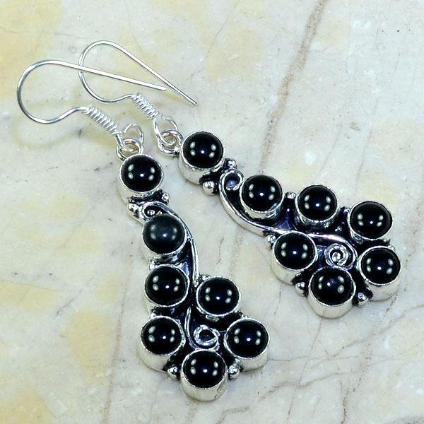 On 0292a boucles pendants oreilles onyx noir parure bijou 1900 achat vente 1