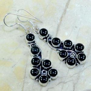 On 0292a boucles pendants oreilles onyx noir parure bijou 1900 achat vente