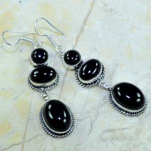 On 0293a boucles pendants oreilles onyx noir parure bijou 1900 achat vente