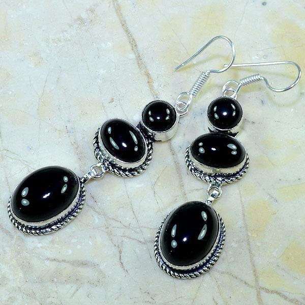 On 0293b boucles pendants oreilles onyx noir parure bijou 1900 achat vente