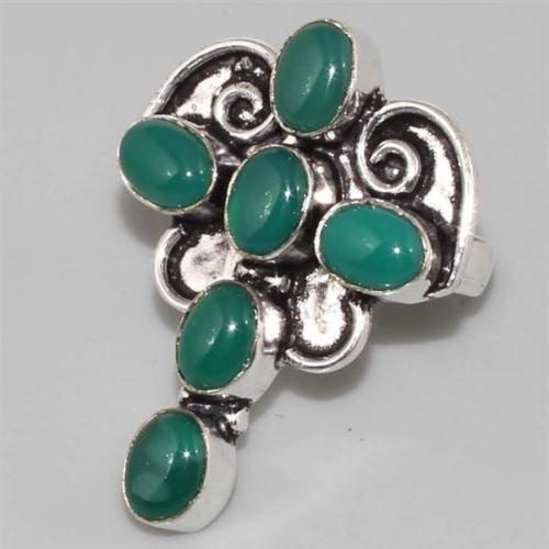 ON-0295 - BAGUE T 55 CROIX en  ONYX vert Monture argent 925 - 44 carats - 8,8 gr