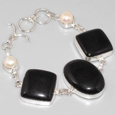 ON-0296 - BRACELET en ONYX Noir et PERLES monture argent 925 - 143 carats - 28,6 gr